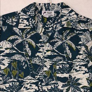 MALIHINI HAWAII Aloha Shirt Canoe Palm Ulu Taro M